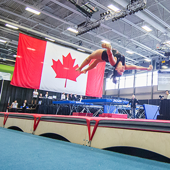 Schwaiger and Sugrim win senior tumbling titles at 2019 Elite Canada competition