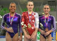 "Isabela Onyshko scores gymnastics ""hat trick"" at World Cup meet in Slovenia"