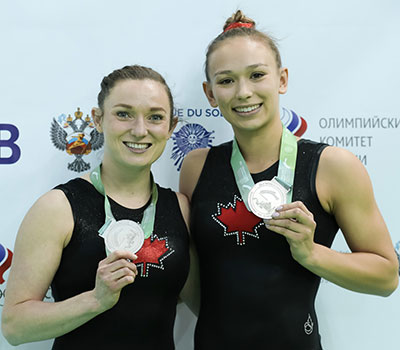 MacLennan and Milette capture World Championships silver in synchro trampoline